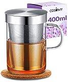 Cosumy Teetasse mit Sieb und Deckel - inkl. Untersetzer - Borosilikat Glas - Tasse 400ml Groß