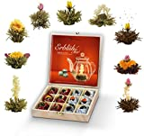 Creano Teeblumen Geschenkset in Teekiste aus Holz 12 Erblühtee in 9 Sorten Weißtee & Schwarztee, Geschenk Ostern Frauen