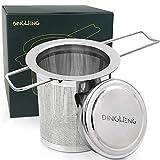 DINGHENG Teesieb Teefilter und Deckel/Abtropfschale,Rostfreies 304 Edelstahl Tee-Sieb für losen Tee,Premium Sieb,Faltbare