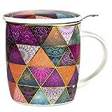 Phoenix Import Teetasse Patchwork mit Sieb und Geschenkkarton