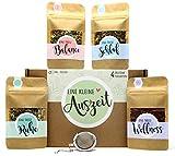 Eine kleine Auszeit Tee Geschenk-Box mit 4 verschiedene Sorten Tee und Tee-Ei Geschenkidee für Ruhe und Entspannung