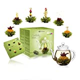 Creano Teeblumen Mix - Geschenkset Erblühtee mit Glaskanne Grüner Tee fruchtig aromatisiert (Teerosen in 6 Sorten), Blooming Tea, Tee Geschenk für Frauen, Mutter, Teeliebhaber